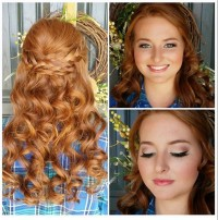 Long, natural ginger hair with curls and braided headband