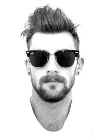 Classic hairstyle for men with shaved sides and spiky fringe