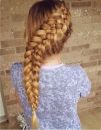 Long, blonde hairstyle with a reverse, thick braid