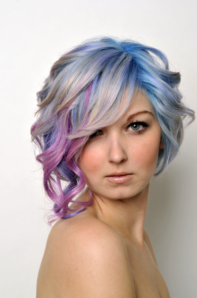 Short Curly Hairstyle With Multicoloured Streaks Platinum