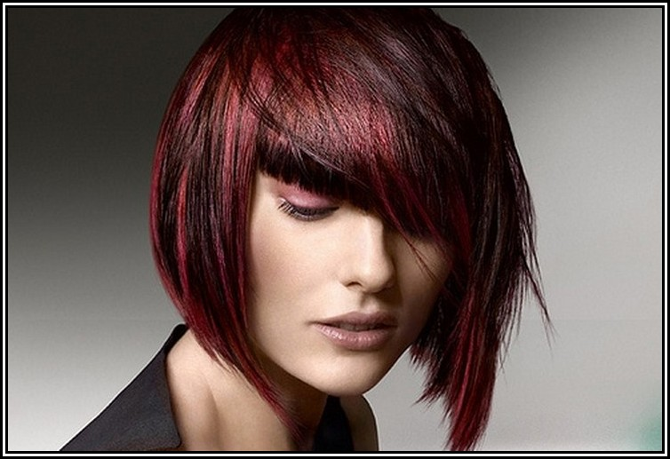 Short Classic Bob Hairstyle For Dark Red Women Hairstyles Hair