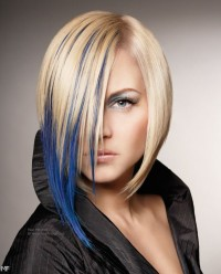 Medium-length hairstyle for blonde, straight hair with blue highlights