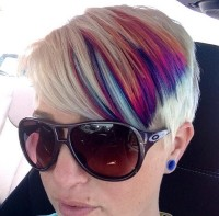 Short, colourful, pixie looking hairstyle