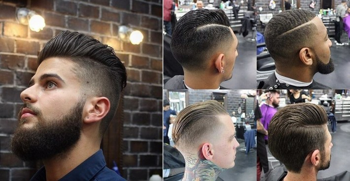 Types of men hairstyle: high fade, textured pomp fade, tapered haircut