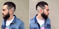 Short haircut for men with high fade, shaved sides and back and quiff