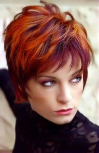 Choppy, pixie, red hairstyle with violet highlights