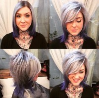 Medium-length platinum hair with darker endings