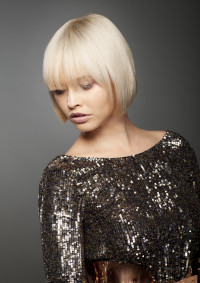 Bowl cut hairstyle with wispy bangs