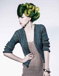 Amazing updo with green hair and wavy, lemon colour streaks