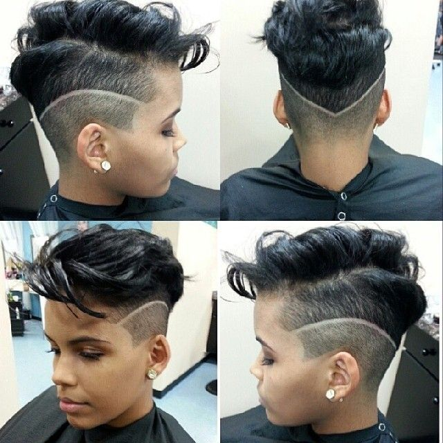 Short hairstyle with wavy fringe and high fade