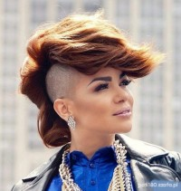 Eva Simons's hot hairstyle with shaved sides and long fringe