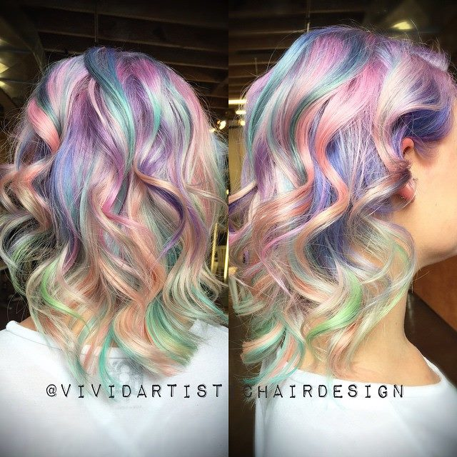Long, colourful hairstyle with curls