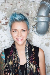 Short, pixie, blue hairstyle with spiky fringe