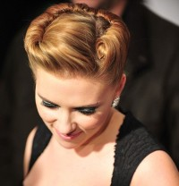 Scarlett Johansson's hairstyle with braided crown