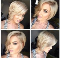 Short, blonde hairstyle with curly front