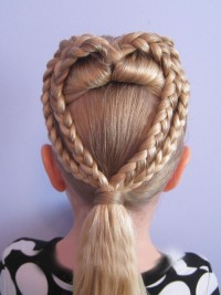 Heart shaped braids with a pony tail