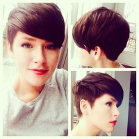 Short, brown hairstyle