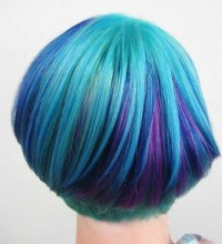 Short, pixie, bob hairstyle with blue and velvet hair