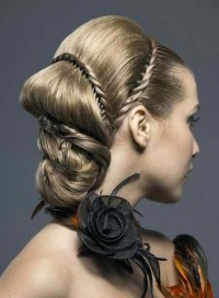 Braided updo with ornaments