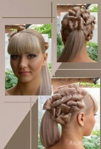 An amazing updo with small tied locks and blunt bangs for wedding