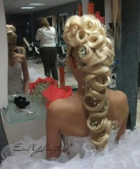 Long, curled hairstyle for wedding