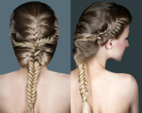 Braided hairstyle for long, blonde hair