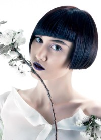 Bowl cut hairstyle for dark hair