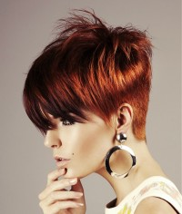 Short, pixie, red haircut with choppy top