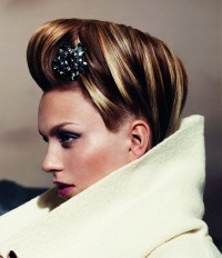 Short updo with blonde highlights and decorative fringe