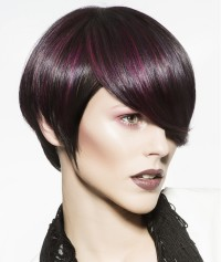 Short hairstyle with longer fringe and violet highlights