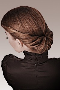 Lovely updo for dark blonde women