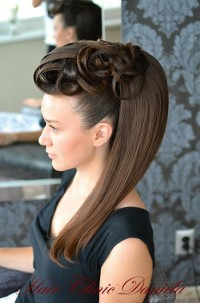 An updo for long, straight, brown hair