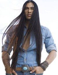 Long, Indian looking hairstyle for men
