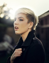 Short, pixie haircut with darker sides