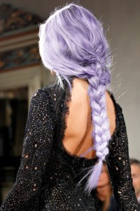 Long, violet hair with thick braid