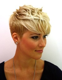 Short, messy looking, blonde hairstyle