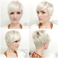 Short, platinum hairstyle