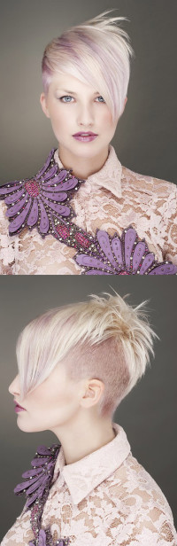 Short, pixie haircut with shaved sides and longer fringe