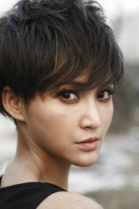 Short, messy, brown hairstyle