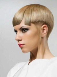 Short, bowl-cut, pixie hairstyle for blonde girls