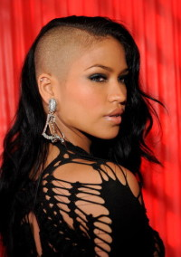 Long, black hairstyle with shaved side