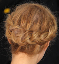 Braided updo for blonde haired women