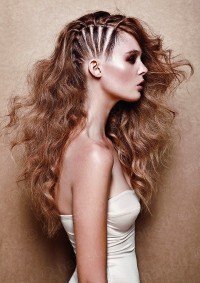 Long, curly, dark blonde hairstyle with braided side