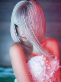 Long, blonde hairstyle for wedding with blunt bangs