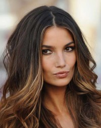 Long, brown hairstyle with ombre