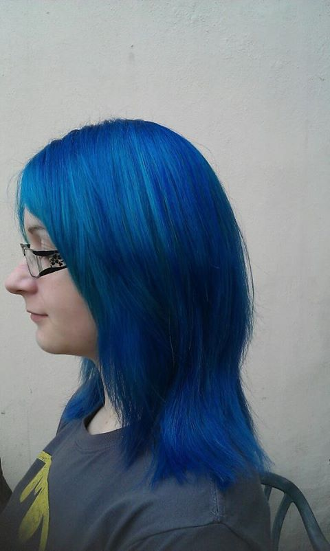 Long, blue hairstyle