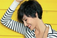 Short, classic, pixie hairstyle for dark haired girls