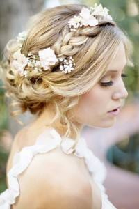 Amazing, romantic updo for wedding with flowers