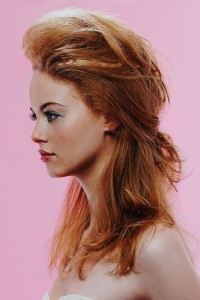 Long, ginger hairstyle with swept back fringe and updo