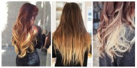 Long, curly, brown hairstyle with ombre effect